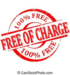 rouges, 100%, gratuite, endommagé, charge, timbre, rond, mots