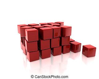 rouges, 3d, cubes