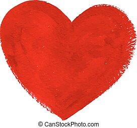 rouges, acrylique, couleur, textured, peint, coeur