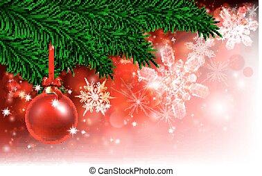 rouges, arbre, babiole, fond, noël