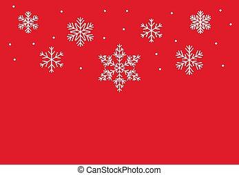 rouges, arrière-plan., flocons neige, hiver