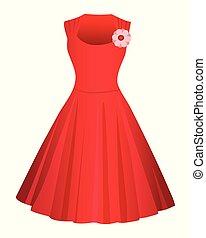 rouges, arrière-plan., mignon, robe blanche, isolé