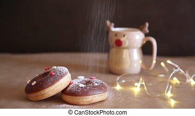 rouges, asperge, grande tasse, table petit déjeuner, chaud, blanc, cacao, cerf, beignets, noël, décoré, chocolat