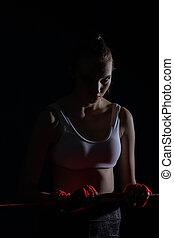 rouges, athlétique, combattant, tenue, ligne, fort, avant, fight., concentré, femme, ring.