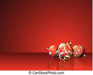 rouges, balles, fond, illustration, noël