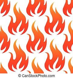 rouges, brûler, flammes, seamless, modèle