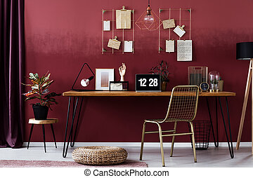 rouges, bureau maison, intérieur