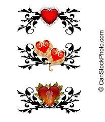 rouges, cœurs, éléments conception