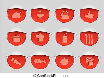 rouges, cachet, illustration, vecteur, icônes, f&b
