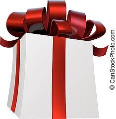 rouges, cadeau, présent, ruban, arc