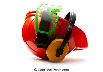rouges, casque sûreté, à, écouteurs, et, lunettes protectrices