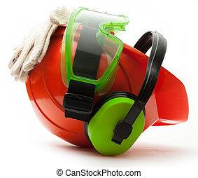 rouges, casque sûreté, à, écouteurs, lunettes protectrices, et, gants