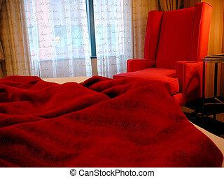 rouges, chambre à coucher
