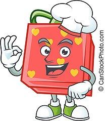 rouges, chef cuistot, chapeau blanc, porter, caractère, amour, cadeau, déguisement, dessin animé