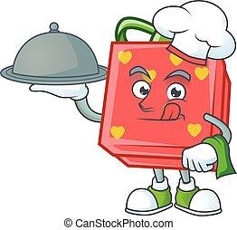 rouges, chef cuistot, plateau, avoir, amour, cadeau, conception, dessin animé, nourriture