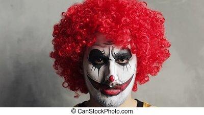 rouges, clown, wig., portrait, maquillage, homme, bouclé, ...