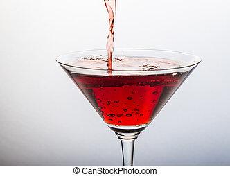 rouges, cocktail, à, éclaboussure, blanc