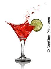 rouges, cocktail, à, éclaboussure, et, chaux, isolé, blanc