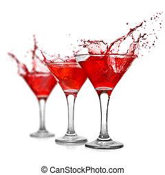 rouges, cocktail, à, éclaboussure, isolé, blanc