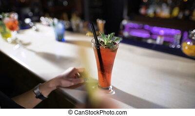 rouges, cocktail, bar., beau