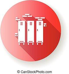 rouges, couleur, école, glyph, cupboards., conception, closets., garder, stockage, gymnase, casiers, métal, silhouette, plat, rgb, compartments., icon., belongings., collège, ombre, illustration, personnel, université, long