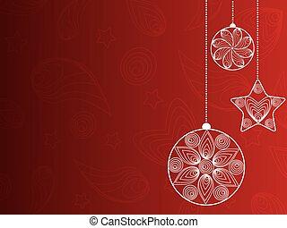 rouges, décorations, fond, noël
