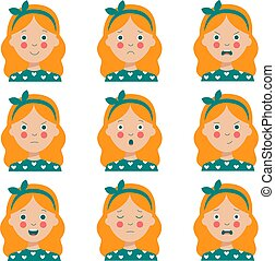 rouges, dessin animé, divers, girl., expressions, mignon, chevelure, facial, ensemble