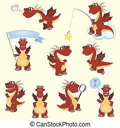 rouges, dessin animé, dragon, ensemble