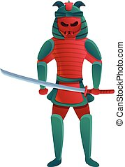 rouges, dessin animé, style, samouraï, icône, roi