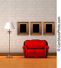 rouges, divan, à, lampe standard, dans, minimaliste,...