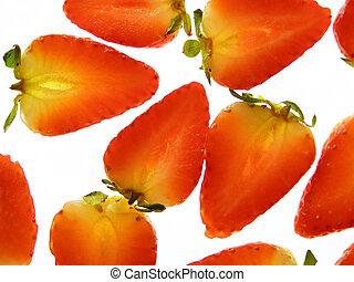 rouges, divisé, fraise
