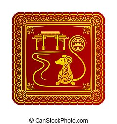 rouges, doré, souris, silhouette, pagode, vecteur, illustration., arrière-plan.