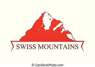 rouges, emblème, à, suisse, montagnes.