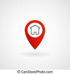 rouges, emplacement, icône, pour, maison, vecteur