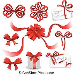 rouges, ensemble, arcs, cadeau, ribbons.