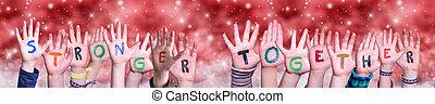 rouges, ensemble, noël, mot, fond, enfants, plus fort, bâtiment, mains
