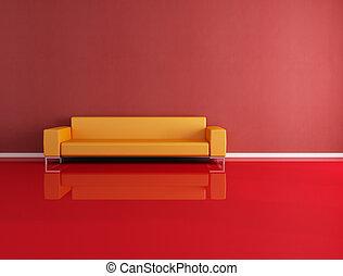 rouges, et, orange, moderne, intérieur