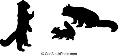 rouges, family., panda, animaux, silhouettes