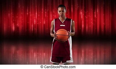 rouges, femme, joueur, basket-ball, fond, contre