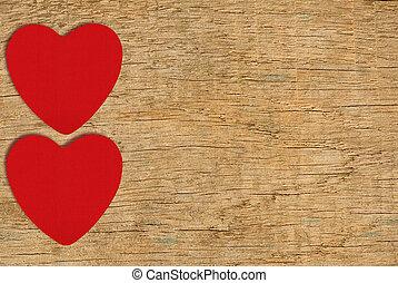 rouges, feutre, cœurs, sur, bois, fond