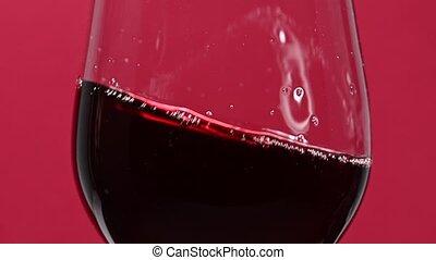 rouges, fin, vin, haut, tourbillonner, verre vin, sur