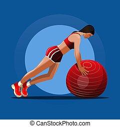 rouges, fitness, illustration, vecteur, girl, fitball., ball...