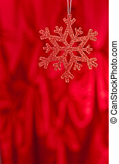 rouges, flocon neige, sur, a, arrière-plan rouge