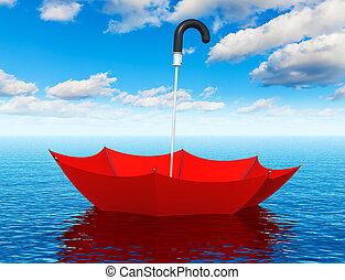 rouges, flotter, parapluie, dans, les, mer