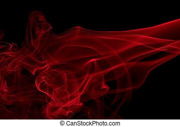 rouges, fumée, détail