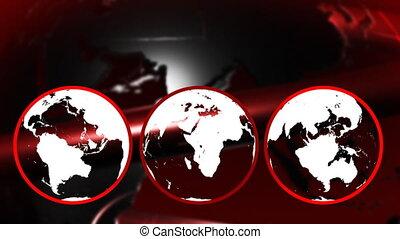 rouges, globe, tourner