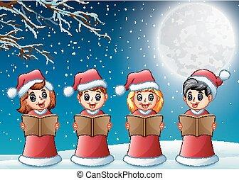 rouges, gosses, santa, nuit, déguisement, chant, hiver, chants noël