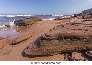 rouges, grès, rochers, pei, plage