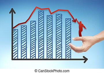 rouges, graphique, tout, bas, risque, et, investissement