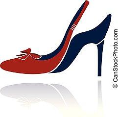 rouges, haute chaussure gîtée, illustration.